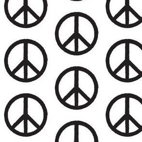 black peace signs on white
