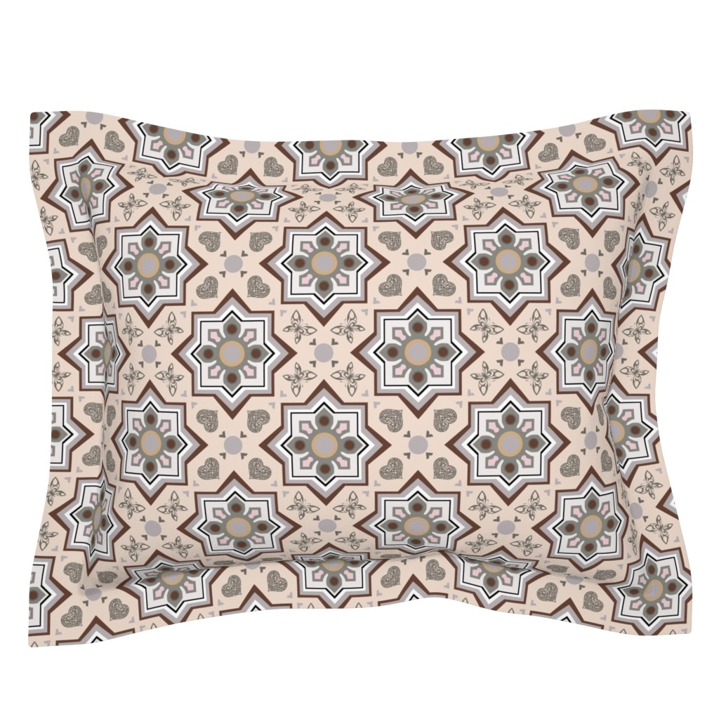 Sebright Pillow Sham featuring spanish tiles beige and brown by colorofmagic