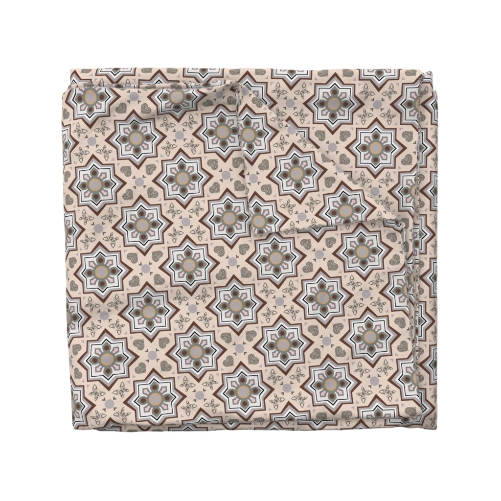 Wyandotte Duvet Cover featuring spanish tiles beige and brown by colorofmagic