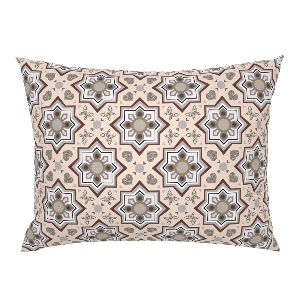 Campine Pillow Sham featuring spanish tiles beige and brown by colorofmagic