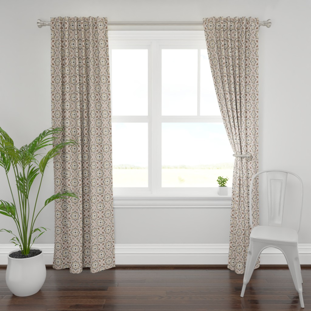 Plymouth Curtain Panel featuring spanish tiles beige and rosé  by colorofmagic