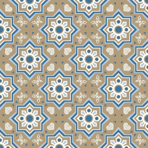 spanish tiles brown and blue