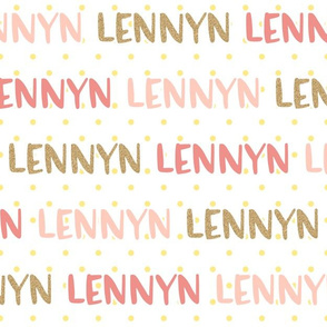Girls Glitter Gold and Pink Personalized Name - Lennyn