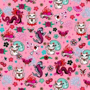 Lucky Cat Maneki Neko , Dragons and Koi fish-PINK-MEDIUM