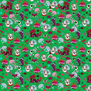 Lucky Cat Maneki Neko , Dragons and Koi fish-GREEN-SMALL