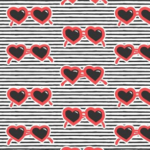 heart shaped glasses - red and dark grey