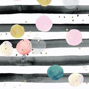 rainbow dots on stripe