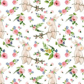Watercolor Easter Bunnies Spring Floral on White
