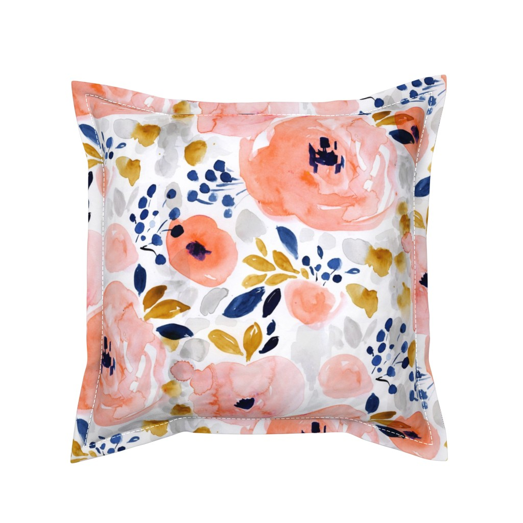 Serama Throw Pillow featuring genevieve floral by crystal_walen