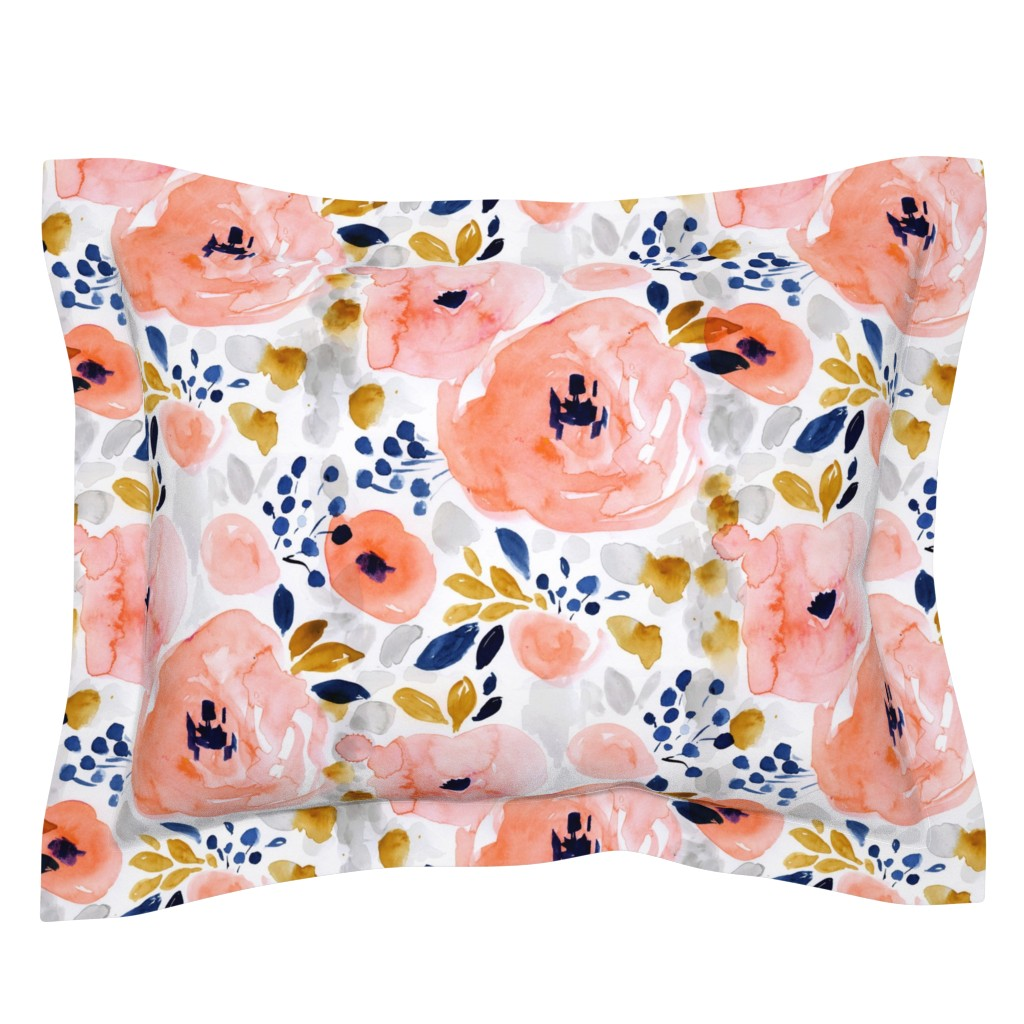 Sebright Pillow Sham featuring genevieve floral by crystal_walen