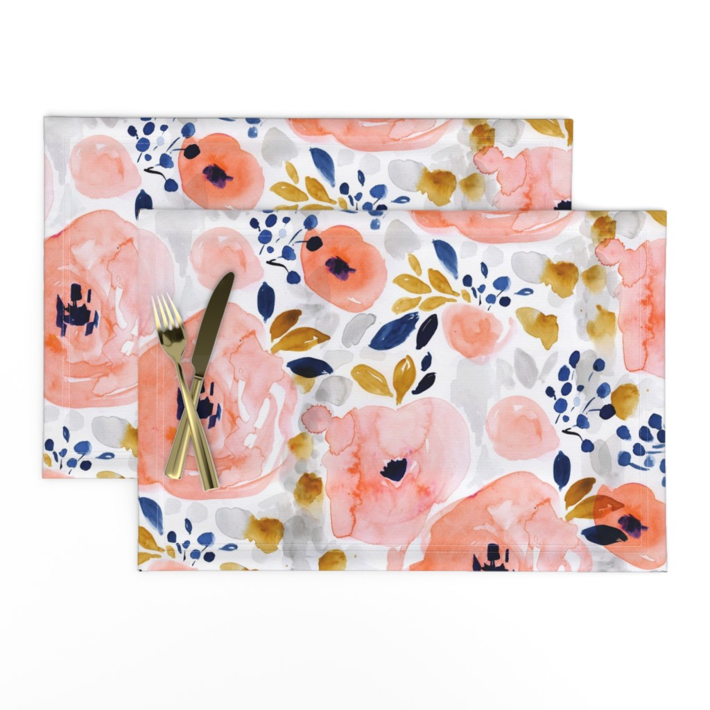 Lamona Cloth Placemats featuring genevieve floral by crystal_walen