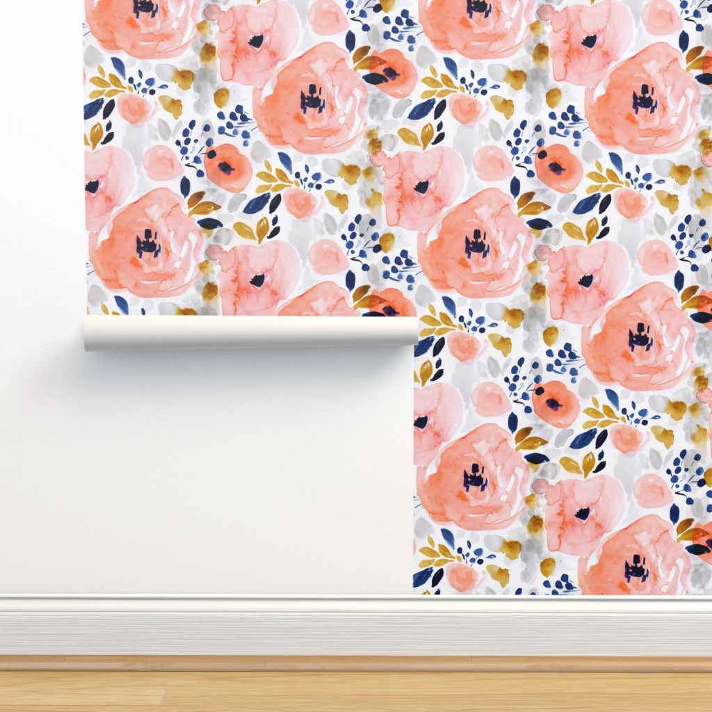 Isobar Durable Wallpaper featuring genevieve floral by crystal_walen