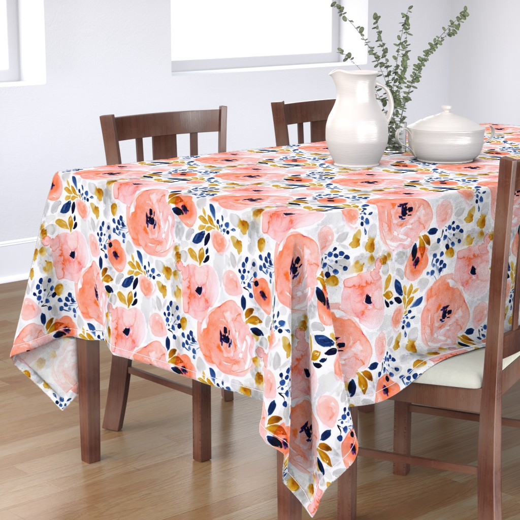 Bantam Rectangular Tablecloth featuring genevieve floral by crystal_walen