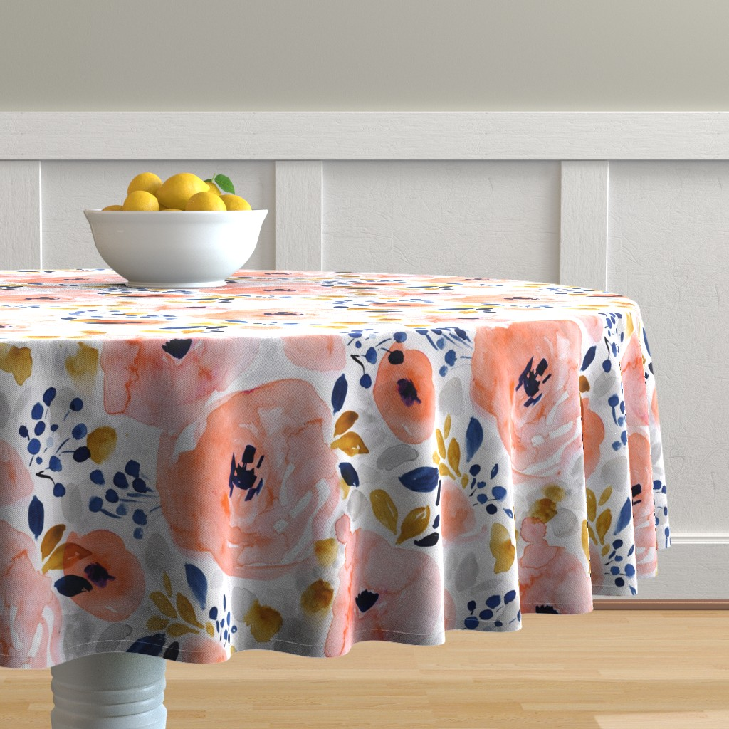 Malay Round Tablecloth featuring genevieve floral by crystal_walen