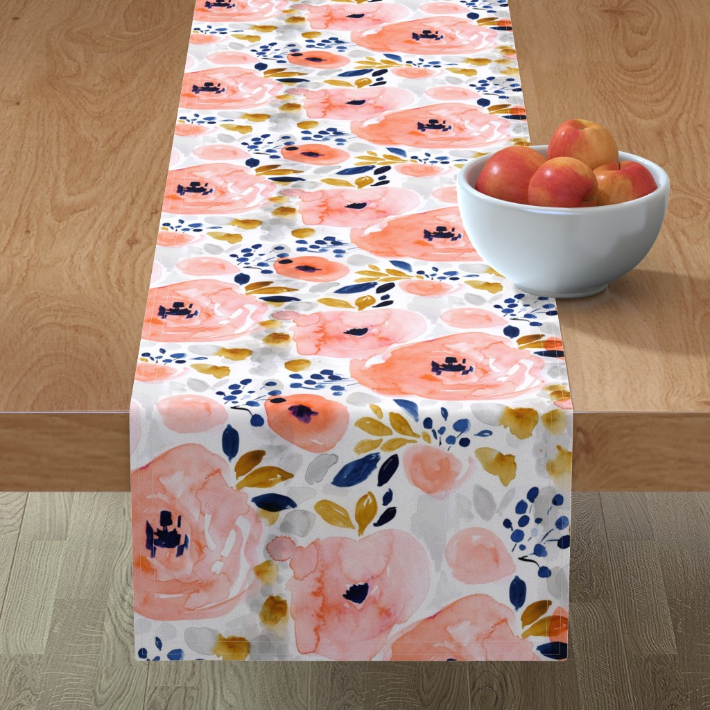 Minorca Table Runner featuring genevieve floral by crystal_walen