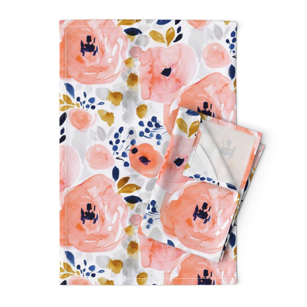 Orpington Tea Towels featuring genevieve floral by crystal_walen