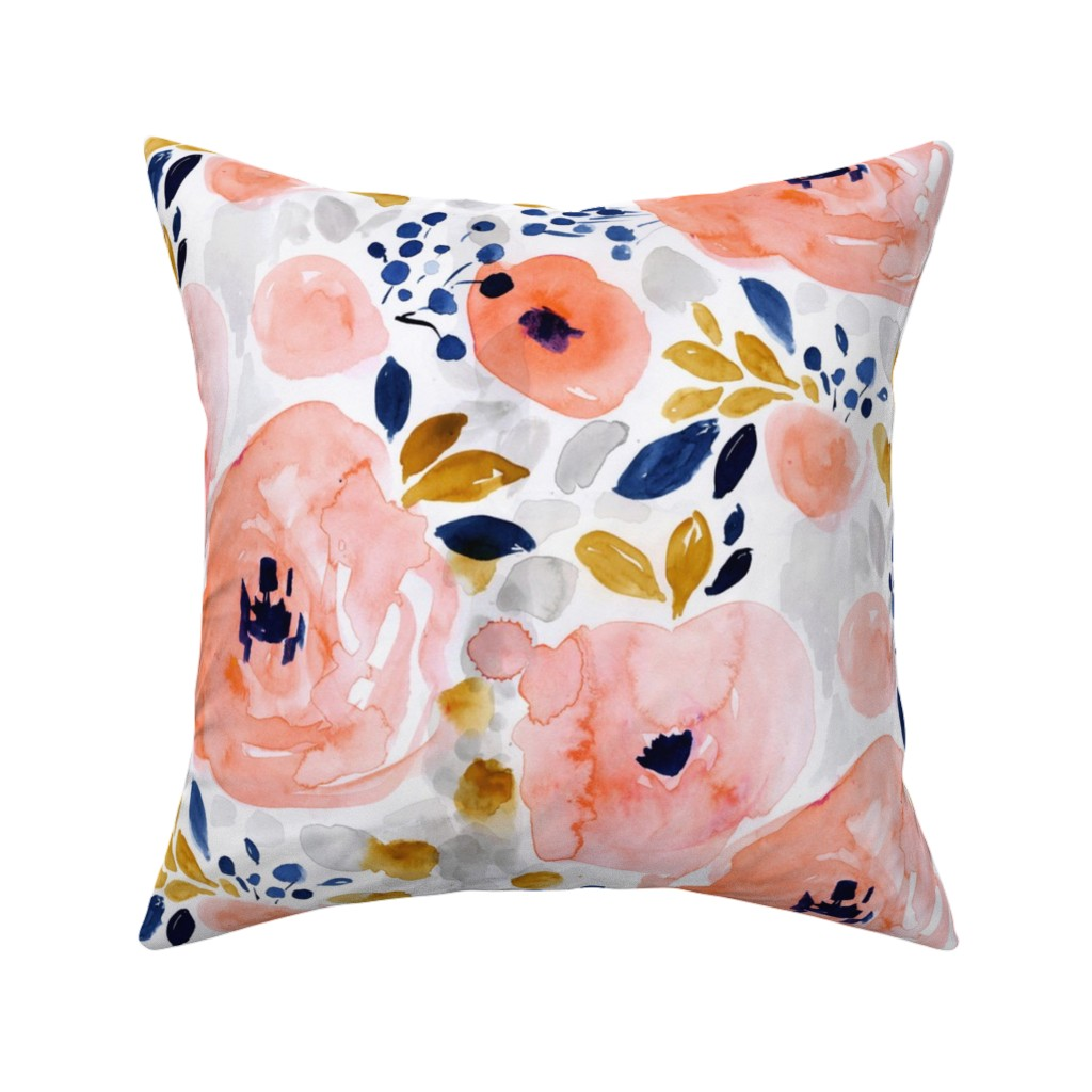Catalan Throw Pillow featuring genevieve floral by crystal_walen