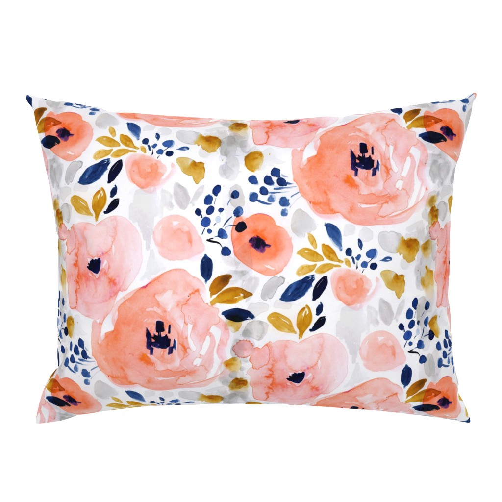 Campine Pillow Sham featuring genevieve floral by crystal_walen
