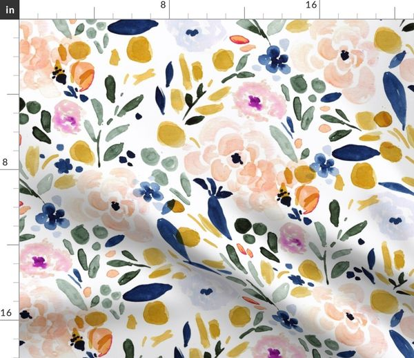 Set of 4 Watercolor Cloth Placemats by Spoonflower Pastel Floral Placemats - Sierra-floral by crystal/_walen