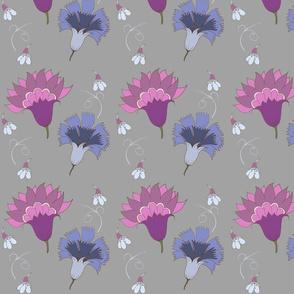 Violet And Blue Floral Pattern
