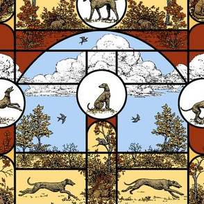 Autumn Red and Gold Stained Glass Medium, Toile Greyhounds