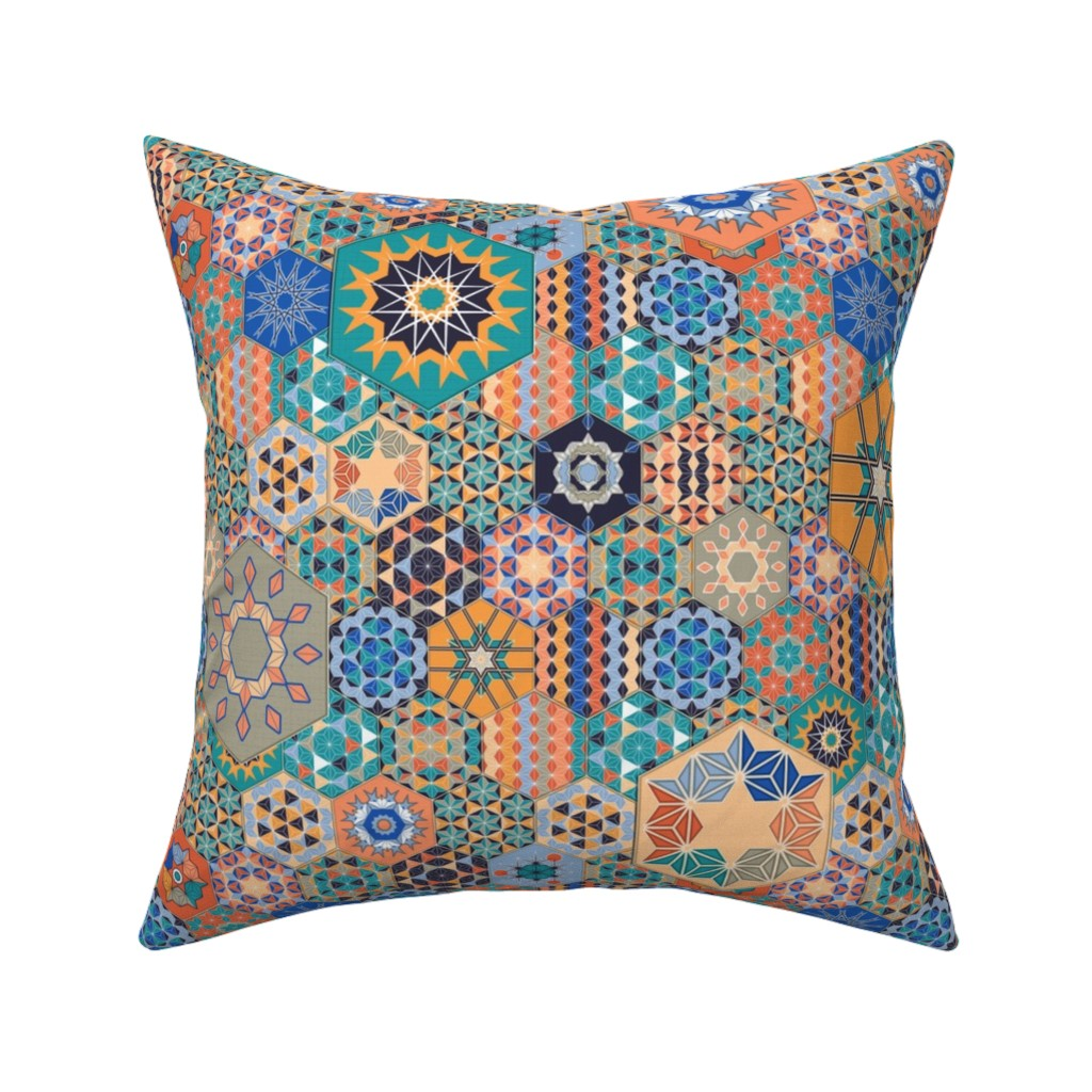 Catalan Throw Pillow featuring Hexagons Tiles (Colorful) by vannina
