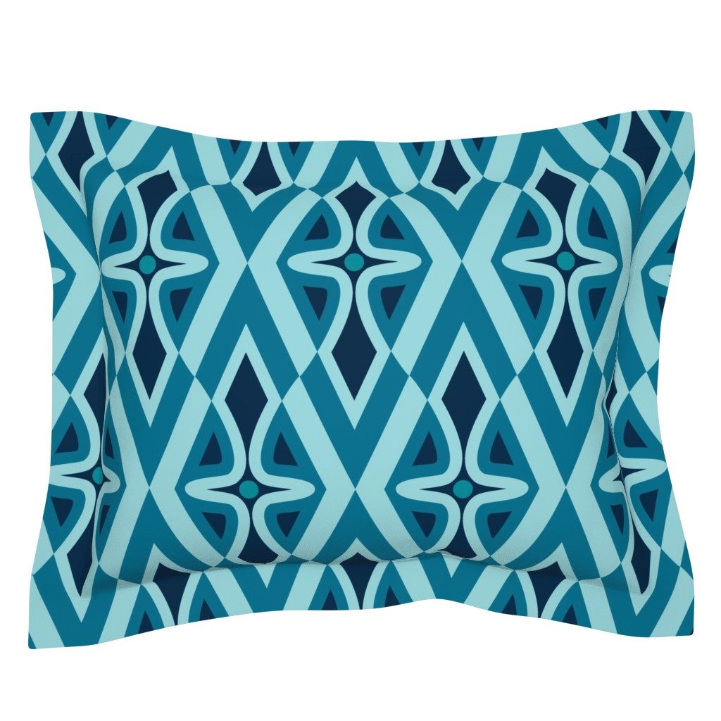 Sebright Pillow Sham featuring wiggly, blue by hannafate