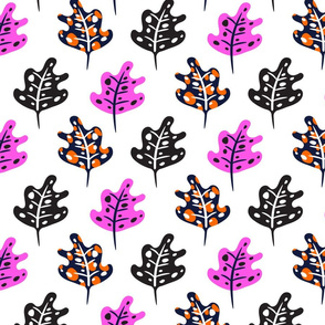 Tropic leaves in purple and pink