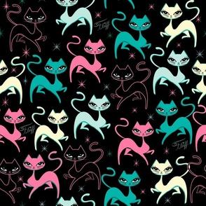PRANCING KITTEN-FABRIC-BLACK
