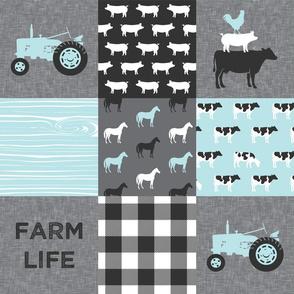 farm life - farm patchwork fabric - blue and grey linen