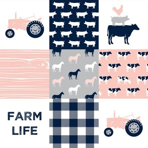 farm life - patchwork farm fabric - pink and navy