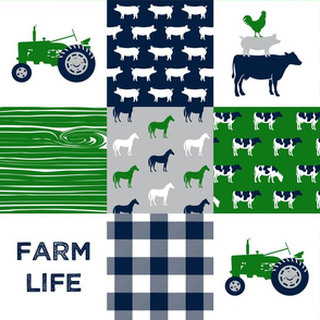 farm life - patchwork farm fabric - green and navy