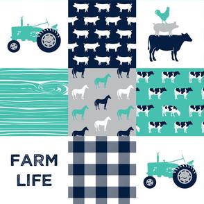 farm life - patchwork farm fabric - custom teal and navy