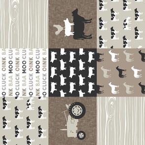 farm life - farm patchwork fabric - browns (90)