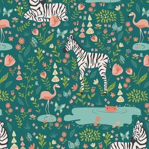 Zebra in a Wild Garden