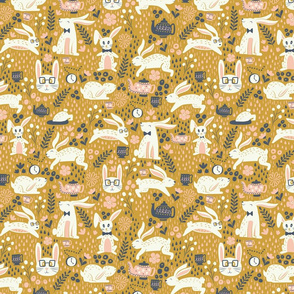 Hipster Bunnies in Gold