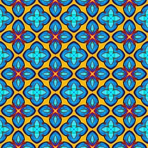 Turquoise Blue and Yellow Spanish Tiles