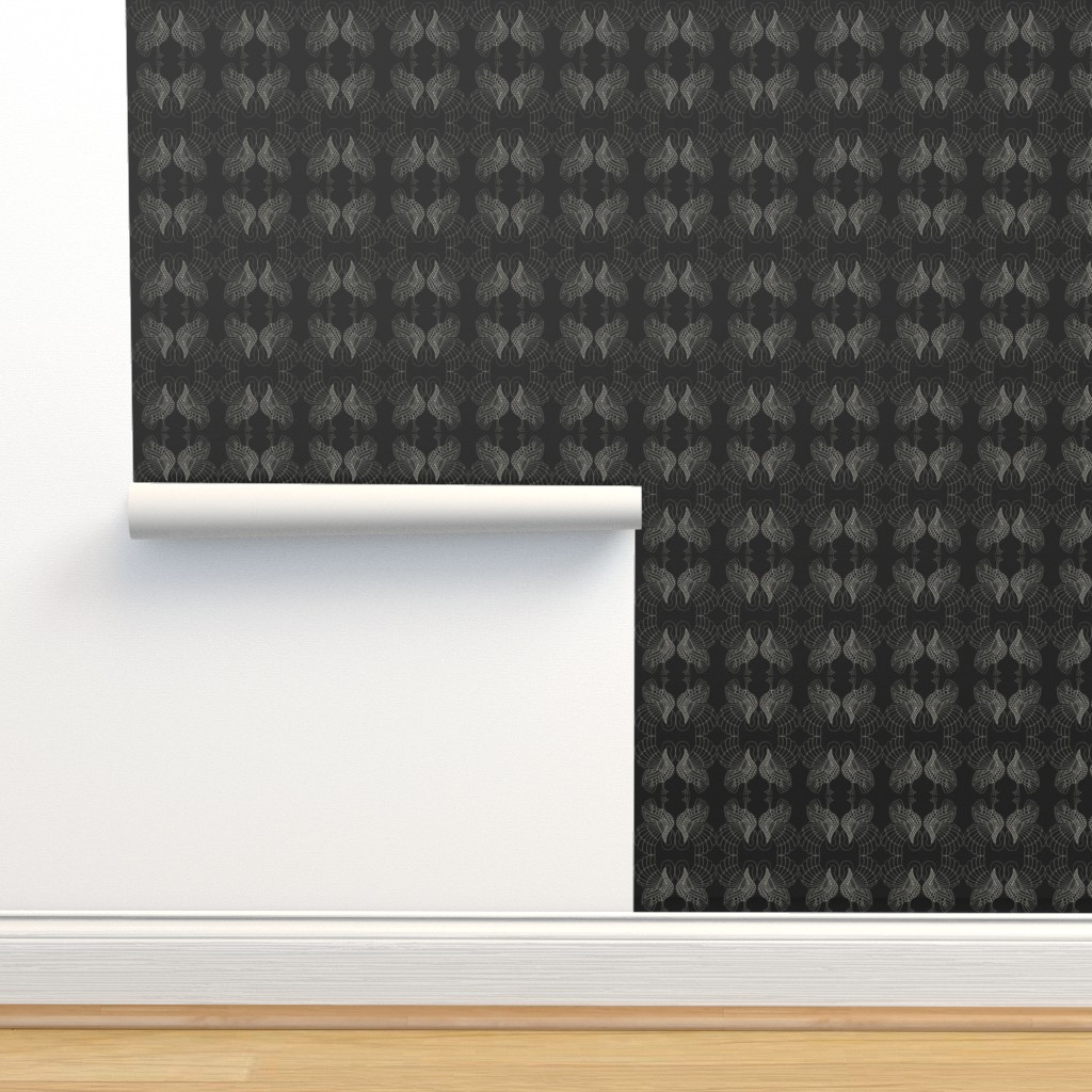 Isobar Durable Wallpaper featuring art swans up/down black by ejmart