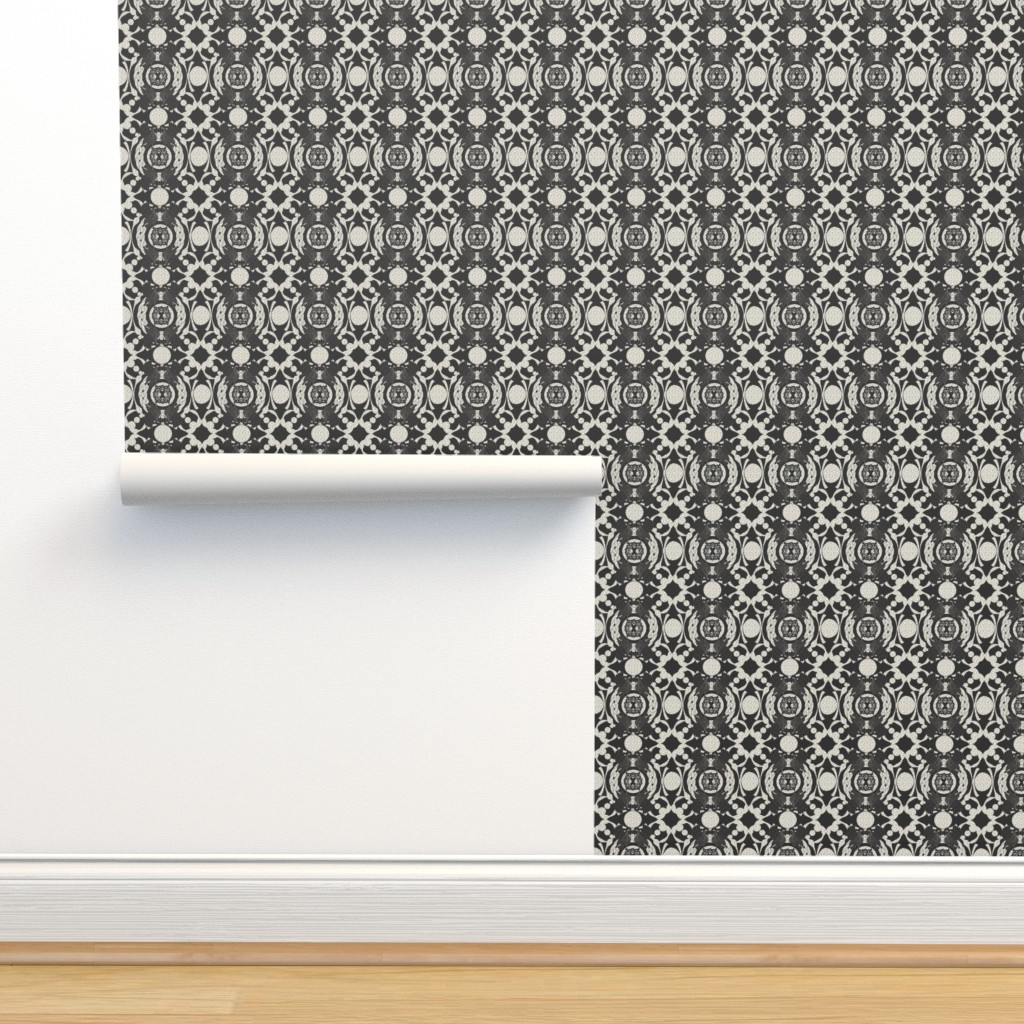 Isobar Durable Wallpaper featuring Celtic Swan pristine (off white)/black by ejmart