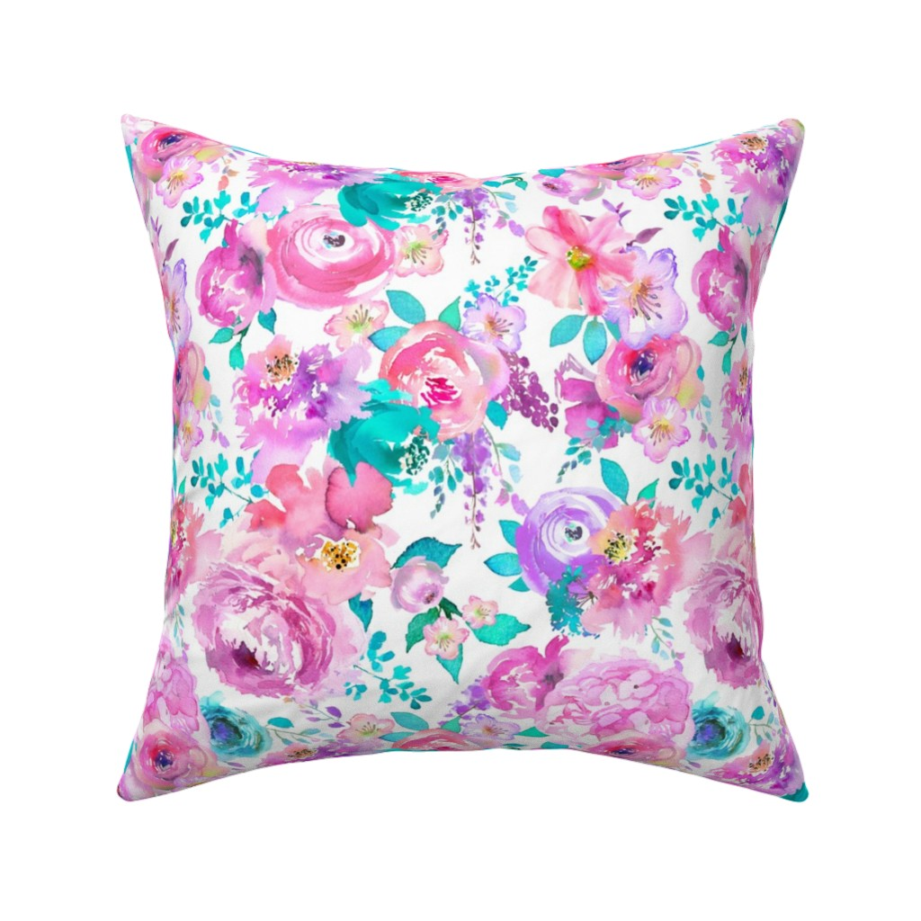 Catalan Throw Pillow featuring mint purple floral by lil'faye