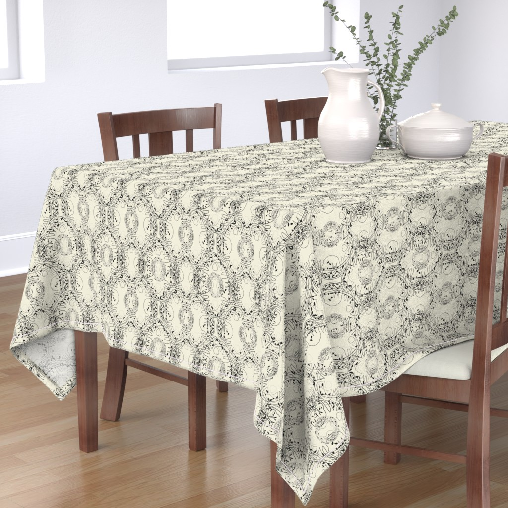 Bantam Rectangular Tablecloth featuring Celtic tree symphony pristine (off white)/black by ejmart