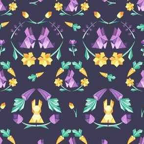 Origami Bunny geometric on dark violet