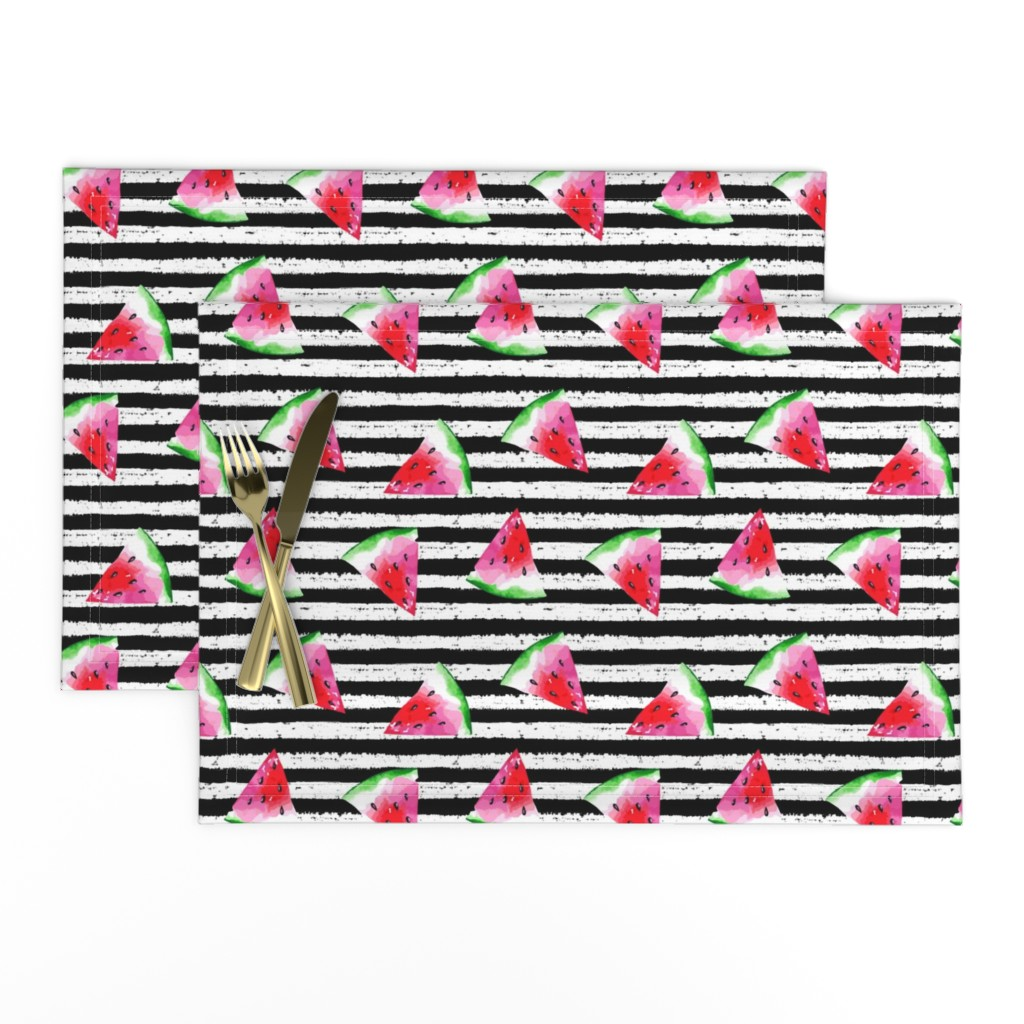 Lamona Cloth Placemats featuring Summer Watermelon by hipkiddesigns