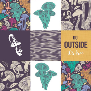 Go outside wholecloth quilt top // multicoloured mushrooms