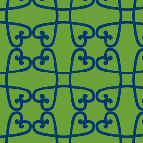 Spanish tile loop blue on green