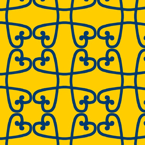Spanish tile loop blue on yellow