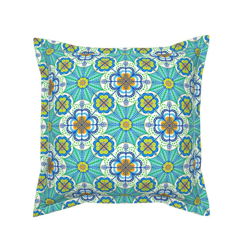 Serama Throw Pillow featuring Flores de Castilla by jjtrends