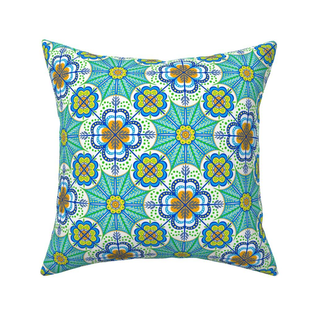Catalan Throw Pillow featuring Flores de Castilla by jjtrends