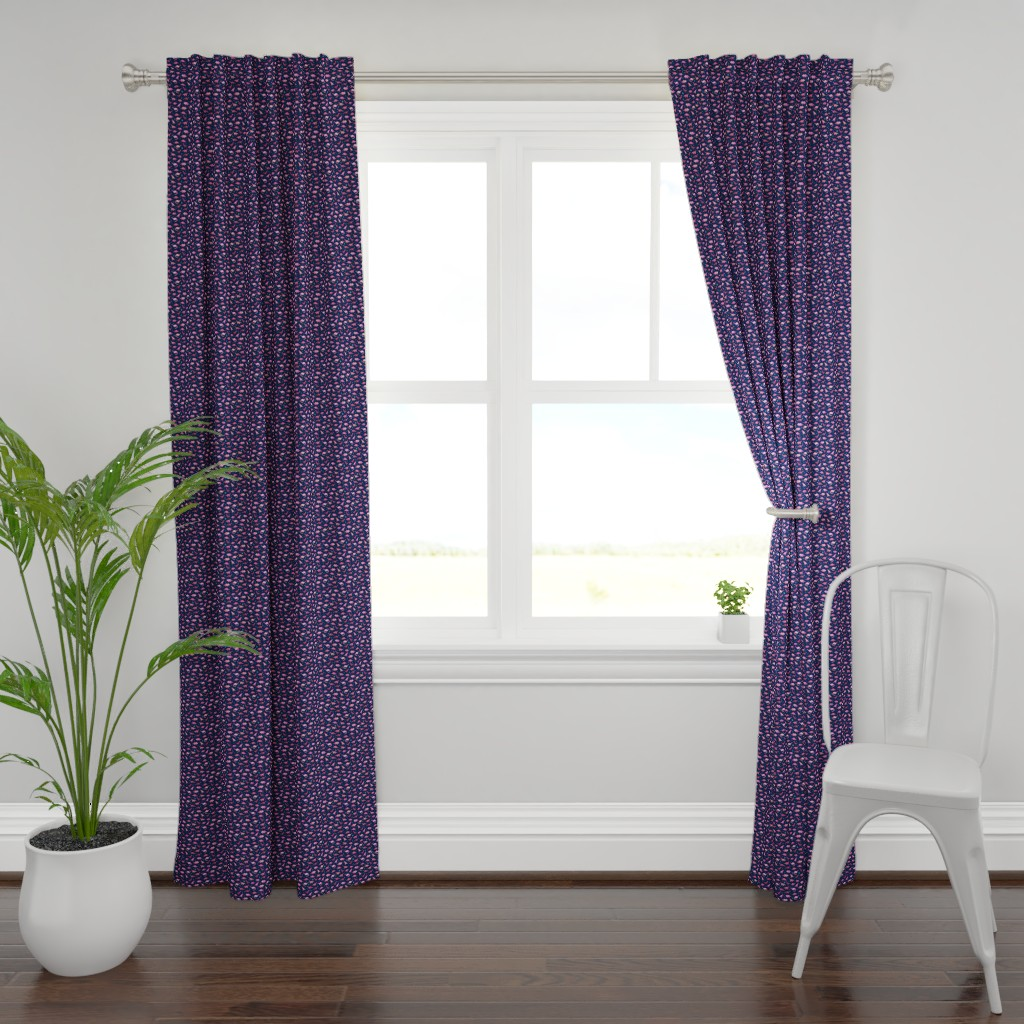 Plymouth Curtain Panel featuring Extra Tiny Dinos in Magenta and Coral on Navy  by micklyn