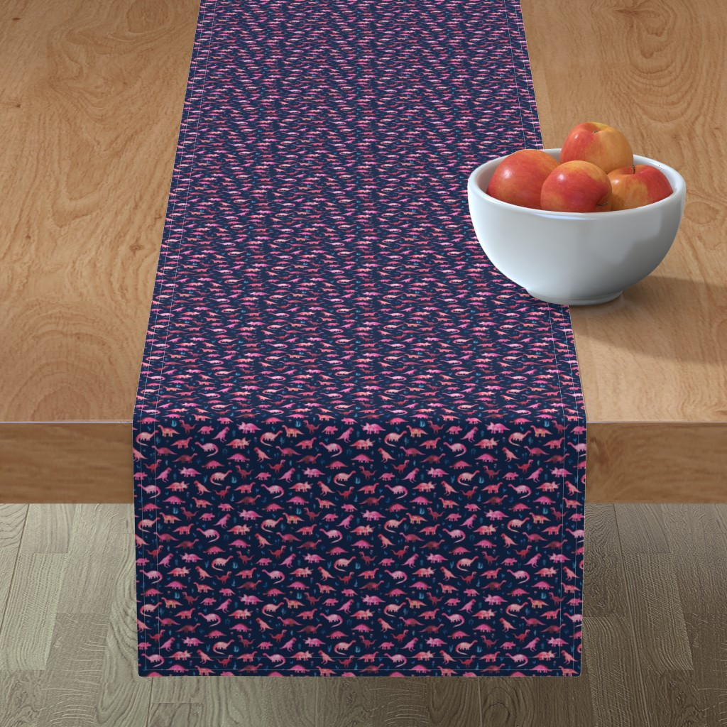 Minorca Table Runner featuring Extra Tiny Dinos in Magenta and Coral on Navy  by micklyn